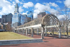 Boston downtown. View of Boston's downtown from Christopher Columbus Waterfront Park Royalty Free Stock Photography