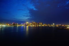 Boston at night stock photography