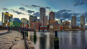 Boston Downtown at Night. MA Royalty Free Stock Images