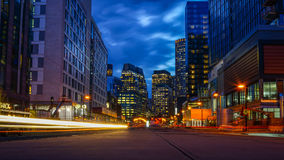Boston Downtown at Night. MA Stock Photos