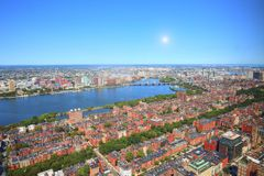 Boston downtown skyline at a bright sunny day. Boston, USA downtown skyline at a bright sunny day stock photos