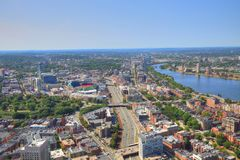 Boston downtown skyline at a bright sunny day. Boston, USA downtown skyline at a bright sunny day stock photography