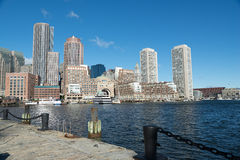 Boston downtown skyline city view in early morning. Royalty Free Stock Photos