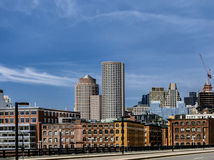 Boston downtown skyline view from waterfront area, a lotof copyspace on a sky Royalty Free Stock Photography