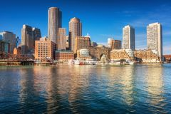 Boston downtown at sunrise stock photography