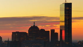 Boston downtown time lapse. Timelapse of dramatic sunrise over Boston downtown time lapse as seen from Cambridge stock video