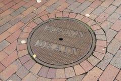 Boston drain cover. Metal drain cover with boston Drain on it Stock Photo