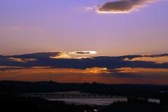 boston dramatisk solnedgång Arkivfoto