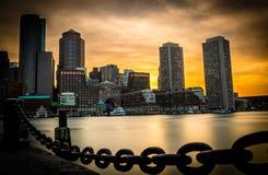 Boston du centre pendant le coucher du soleil photographie stock