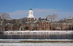 Boston en la nieve - Harvard Imagenes de archivo