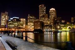 Boston en la noche Foto de archivo libre de regalías