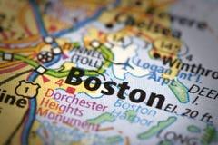 Boston en mapa imágenes de archivo libres de regalías