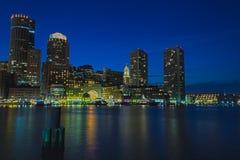 Boston entro la notte Immagine Stock Libera da Diritti