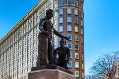 Boston, EUA 1º de março de 2019: Memorial de The Emancipation, igualmente conhecido como o memorial do freedman ou o grupo da ema imagem de stock royalty free