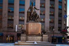 Boston, EUA 1º de março de 2019: Memorial de The Emancipation, igualmente conhecido como o memorial do freedman ou o grupo da ema fotos de stock royalty free