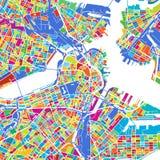 Boston färgrik vektoröversikt royaltyfri illustrationer