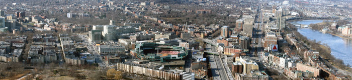 boston fenway panorama- park arkivbild