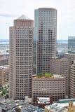 Boston Financial District Skyline. Aerial view of Boston Financial District Skyscrapers, from Custom House, Boston, Massachusetts, USA stock image