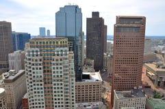 Boston Financial District Skyline. Aerial view of Boston Financial District Skyscrapers, from Custom House, Boston, Massachusetts, USA stock images