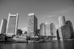 Boston financial district skyline from the Harborwalk. Boston funded in 1630, is one of the oldest cities in the United States royalty free stock image