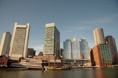 Boston financial district skyline from the Harborwalk. Boston funded in 1630, is one of the oldest cities in the United States stock photos