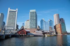 Boston financial district skyline from the Harborwalk. Boston funded in 1630, is one of the oldest cities in the United States royalty free stock images