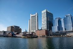Boston financial district skyline from the Harborwalk. Boston funded in 1630, is one of the oldest cities in the United States stock image