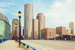 Boston finansiellt område Boston Massachusetts, USA Arkivbilder