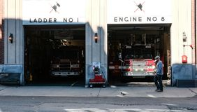 Boston Fire Department engines in there bays, Boston, MA. Stock Images