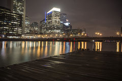 Boston: Fort Point Nightscape Royalty-vrije Stock Fotografie