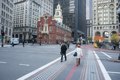 Boston Freedom Trail And Old State House Stock Photo