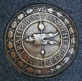 Boston Freedom Trail Emblem. Emblem of the Boston Freedom Trail, Boston Massachusetts United States stock images