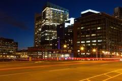 Boston gator vid natt Royaltyfri Bild