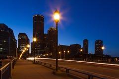 Boston gator vid natt Fotografering för Bildbyråer