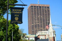 Boston gemensamt tecken, Boston, Massachusetts, USA Fotografering för Bildbyråer