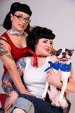 boston girls rockabilly terrier Στοκ Φωτογραφία