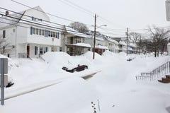 Boston häftig snöstormgator 2015 Arkivbilder