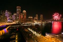 Boston-Hafen-Feuerwerke 2 Stockbild