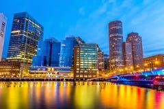 Boston hamn och finansiellt område Fotografering för Bildbyråer