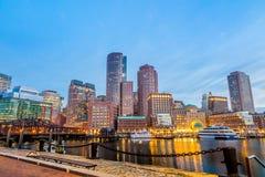 Boston hamn och finansiellt område Royaltyfri Fotografi