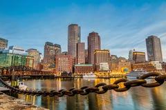 Boston hamn och finansiellt område Arkivfoto