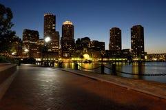 Boston harbar at night. Boston harbor skyline at night royalty free stock image