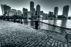 Boston Harbor. In Massachusetts, USA in Black and White with a light blue cast Stock Photos