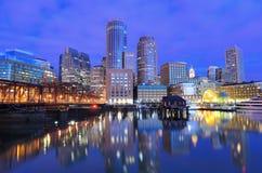Boston Harbor. Financial District of Boston, Massachusetts viewed from Boston Harbor Stock Image