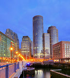Boston Harbor. Financial District of Boston, Massachusetts viewed from Boston Harbor Royalty Free Stock Images