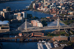 Boston harbor. Aerial morning view of the harbor of Boston, MA Royalty Free Stock Images