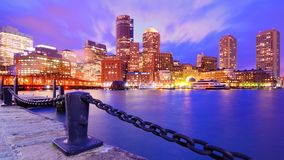 Boston Harbor. Financial District of Boston, Massachusetts viewed from Boston Harbor Stock Photography
