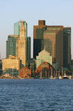 Boston Harbor and the Boston skyline at sunrise as seen from South Boston, Massachusetts, New England Stock Images