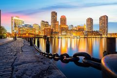 Boston harbor with cityscape and skyline stock photos