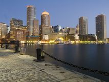 Boston harbor at dawn. From pier royalty free stock image